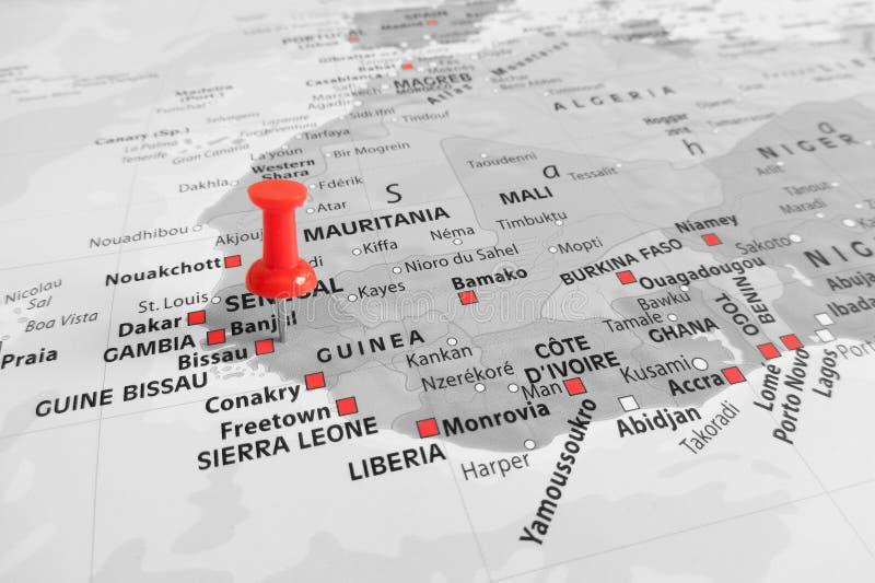 Rote Markierung über Gambia lizenzfreies stockfoto