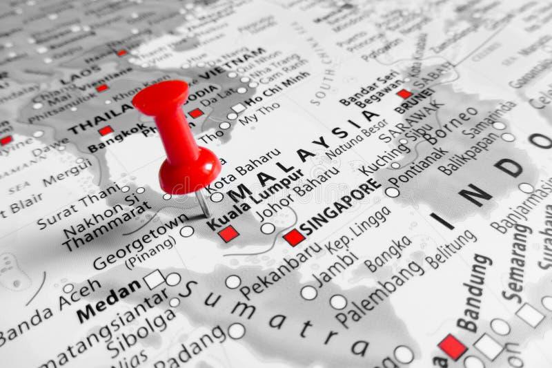 Rote Markierung über Malaysia lizenzfreies stockfoto