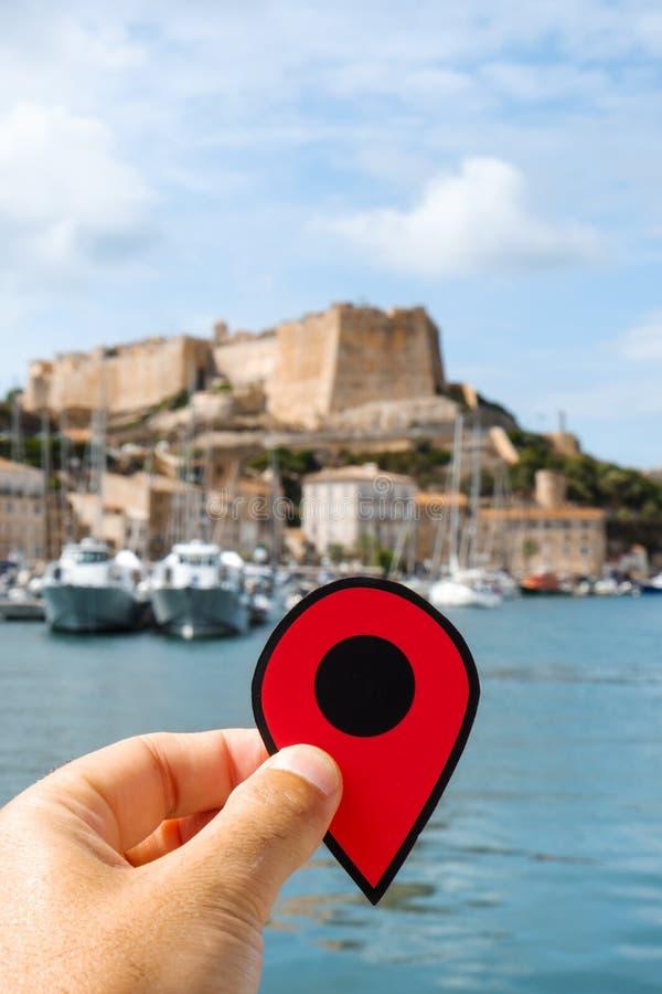 Rote Markierung in Bonifacio, Corse, Frankreich stockfoto