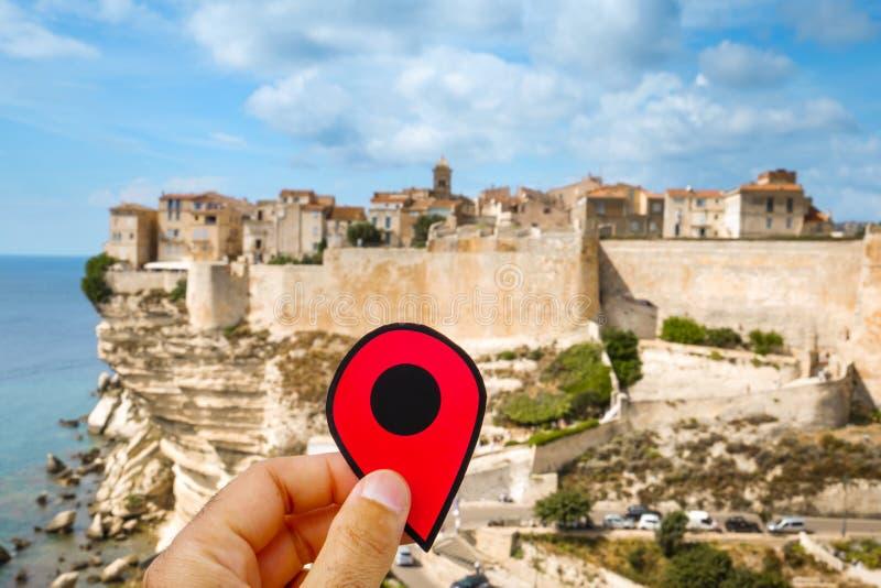 Rote Markierung in der Zitadelle von Bonifacio, Frankreich stockbild