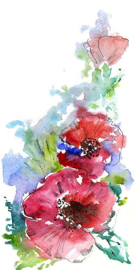 Rote Mohnblumen vektor abbildung