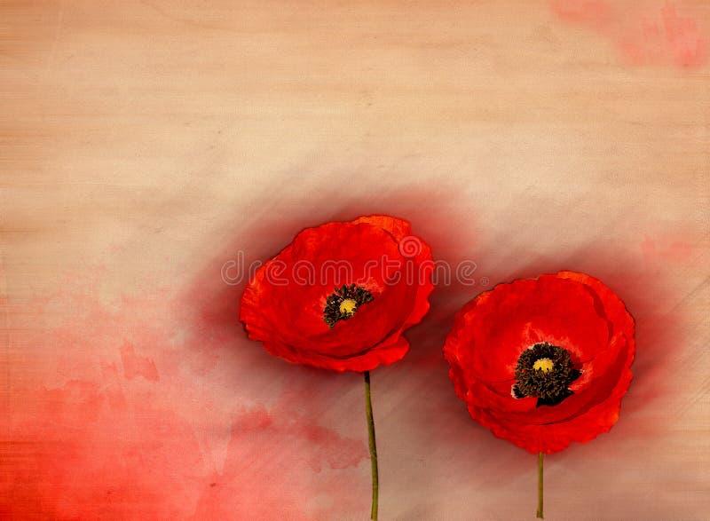Rote Mohnblumen stock abbildung