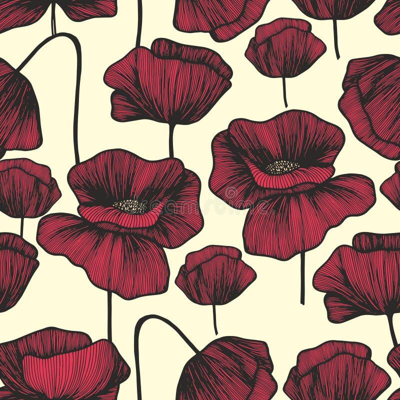 Rote Mohnblumen auf einem hellen Hintergrund Vector nahtloses Muster lizenzfreie abbildung