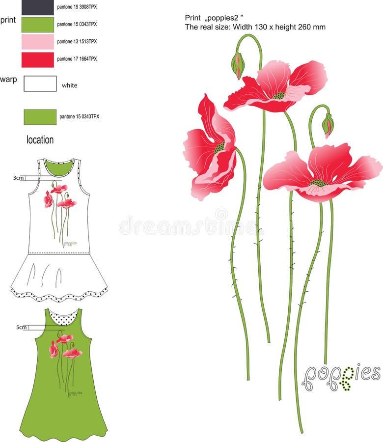 Rote Mohnblumen des Druckes auf den sundress des Mädchens lizenzfreie stockfotografie