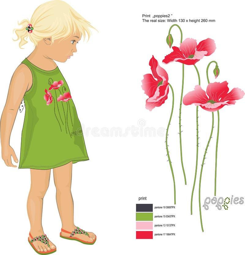 Rote Mohnblumen des Druckes auf den sundress des Mädchens lizenzfreies stockbild