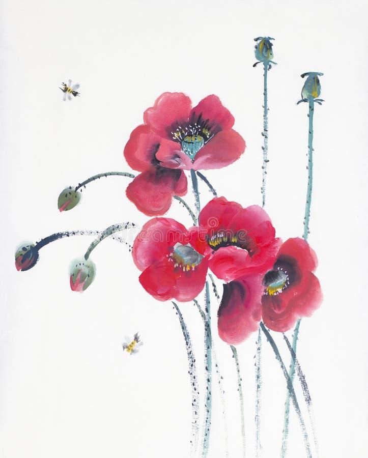 Rote Mohnblumen und Bienen vektor abbildung