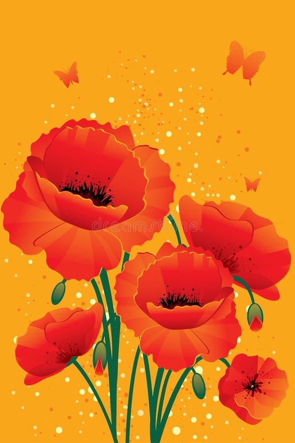 Rote Mohnblumen ziehen sich zurück lizenzfreie abbildung