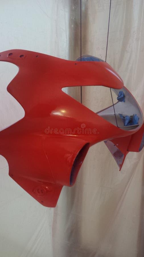 Rote Motorrad-Verkleidung stockbilder