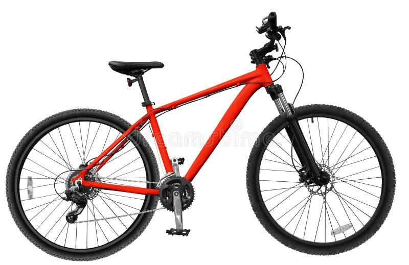 rote Mountainbike auf dem Weiß lokalisierten Hintergrund stockbild