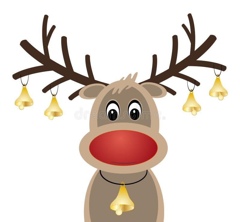 Rote Nase Rudolph-Rens mit Weihnachtsglocken stock abbildung