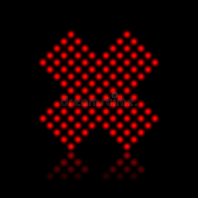Rote Neonleuchten, die Kreuz stoppen stock abbildung