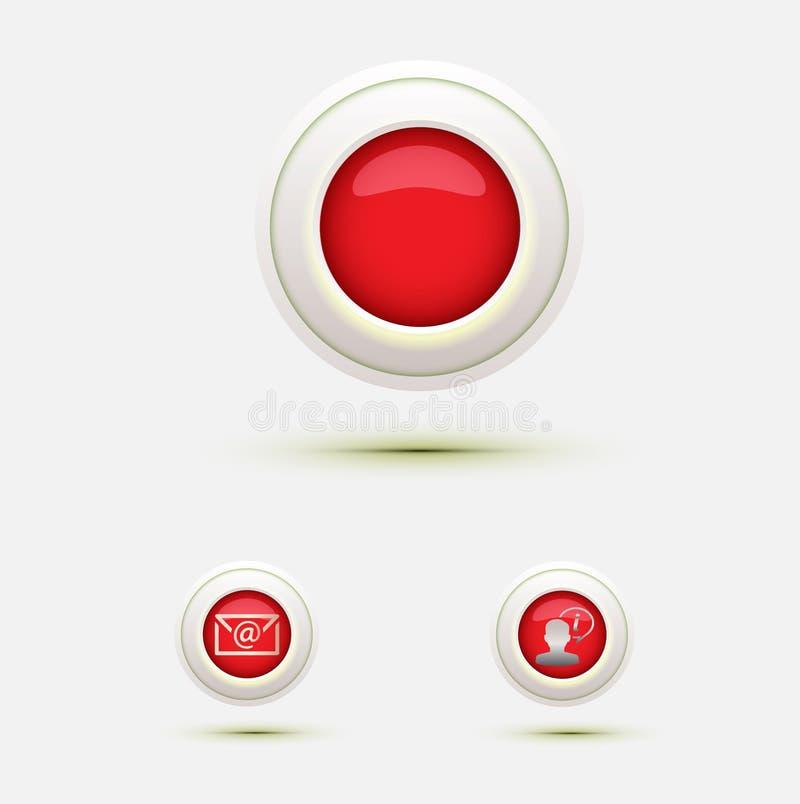 Rote Netzknöpfe, die runde Ikone mit uns in Verbindung treten, leben Stütztelefonchat stock abbildung