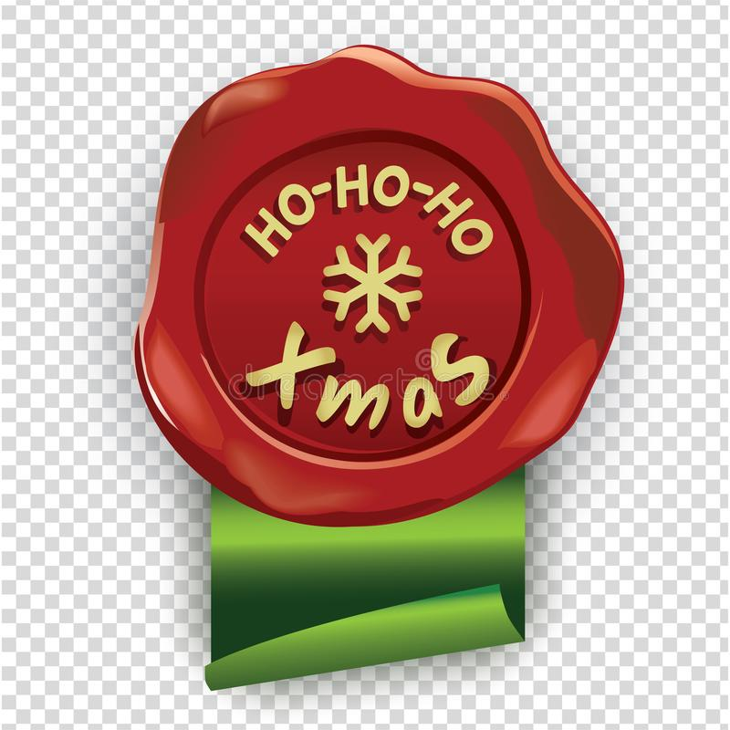 Rote Oblate mit Ho-Ho-Ho Xmas-Aufschrift und grünes Band auf transperent Hintergrund Chrismtas-Stempel stock abbildung