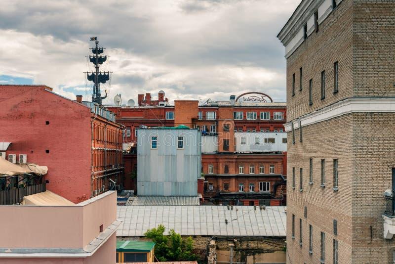 Rote Oktober-Fabrik in dem Moskau-Fluss lizenzfreies stockfoto