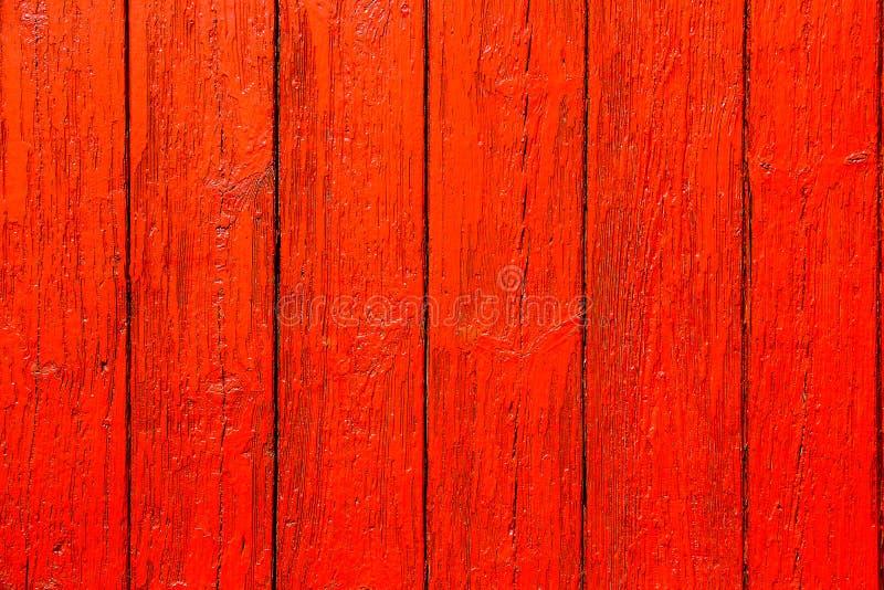 Rote Orange malte hölzerne Holzoberfläche-Beschaffenheitshintergrund der Wand Planke verwitterten lizenzfreie stockfotos