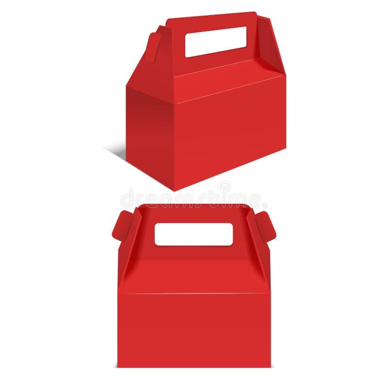 Rote Papierfaltschachtel des realistischen Schablonen-freien Raumes Vektor lizenzfreie abbildung