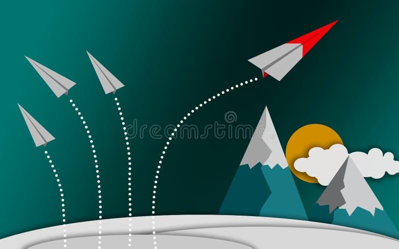 Rote Papierflugzeugfliege zum Himmel, Herausforderung zu ändern lizenzfreie abbildung
