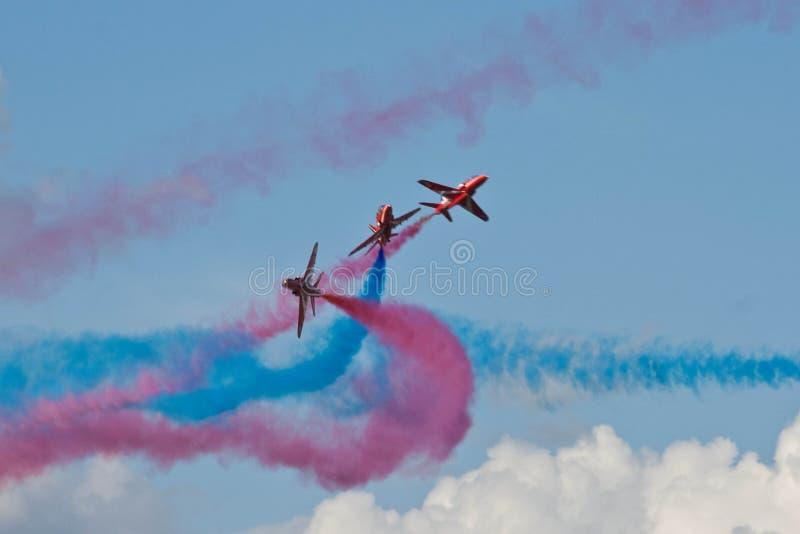 Rote Pfeil-Flugzeug-Anzeige Team Fairford Air Show RAF Airport lizenzfreies stockbild