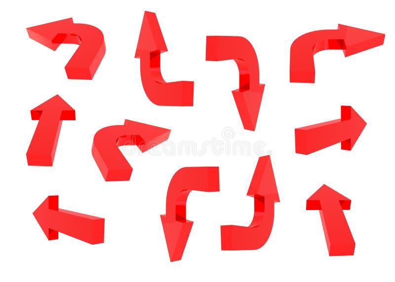 rote Pfeile 3D eingestellt stock abbildung