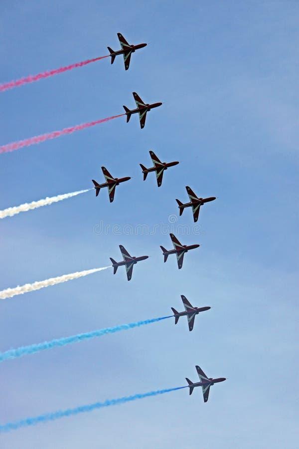 Rote Pfeile RAF-LuftwaffenDüsenflugzeug stockbild