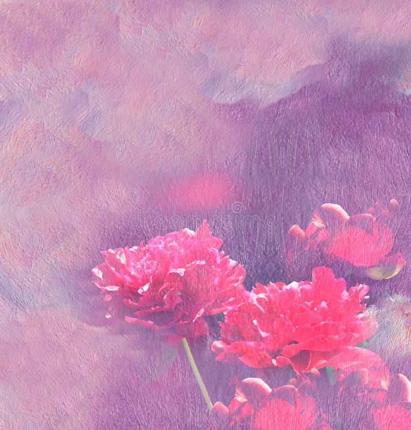 Rote Pfingstrosen Anstrich Ölbeschaffenheit Blumenhintergrund stockfoto