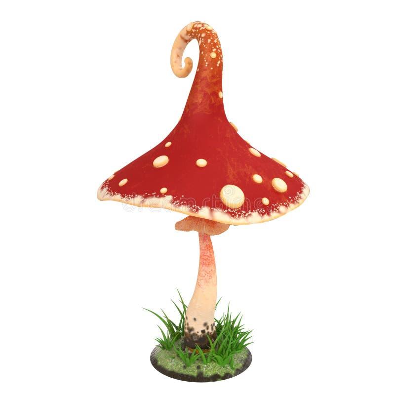 Rote Pilzkarikatur auf Weiß lokalisiertem Hintergrund Abbildung 3D lizenzfreie abbildung