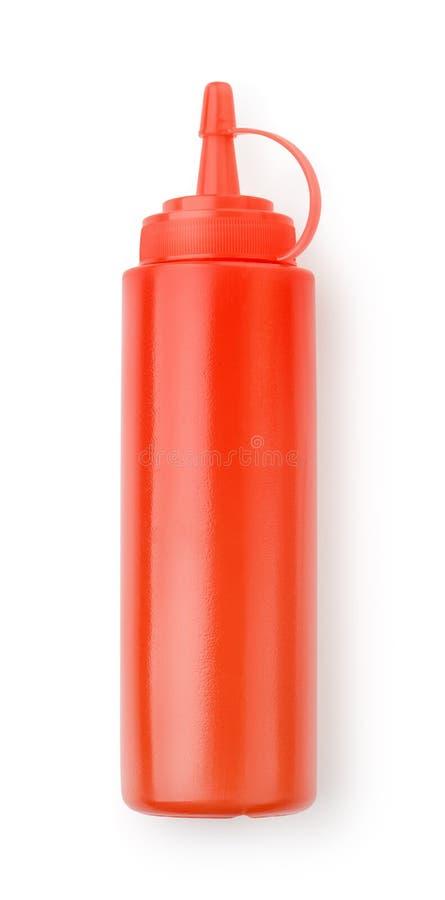 Rote Plastikketschupsoßenflasche stockbild