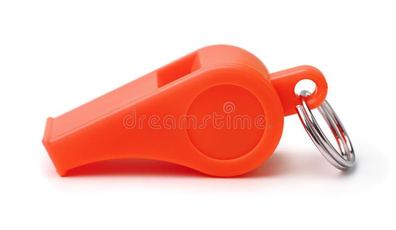 Rote Plastikpfeife stockfoto
