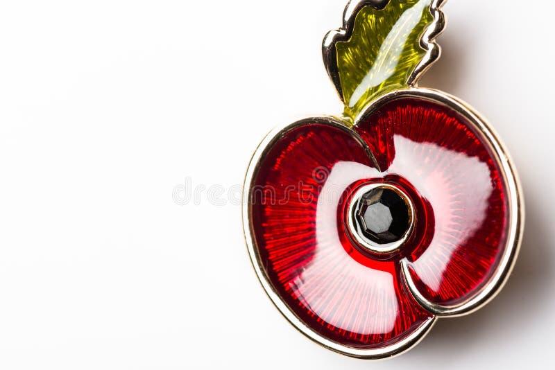 Rote Poppy Pin als Symbol des Erinnerungs-Tages lizenzfreies stockfoto