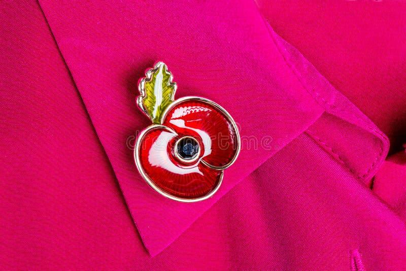 Rote Poppy Pin als Symbol des Erinnerungs-Tages stockfotos