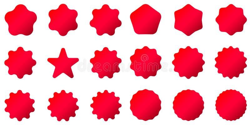 Rote Poststempel und Poststempel Sammlung unterschiedliches starburst gesetzte Sonnendurchbruchausweise lizenzfreie abbildung