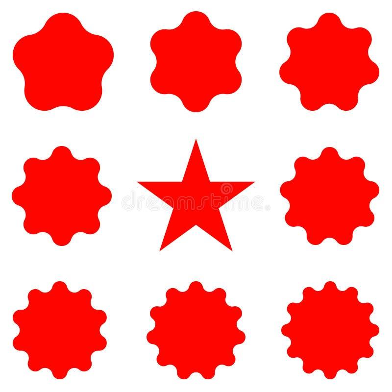 Rote Poststempel und Poststempel Sammlung unterschiedliches starburst gesetzte Sonnendurchbruchausweise stock abbildung