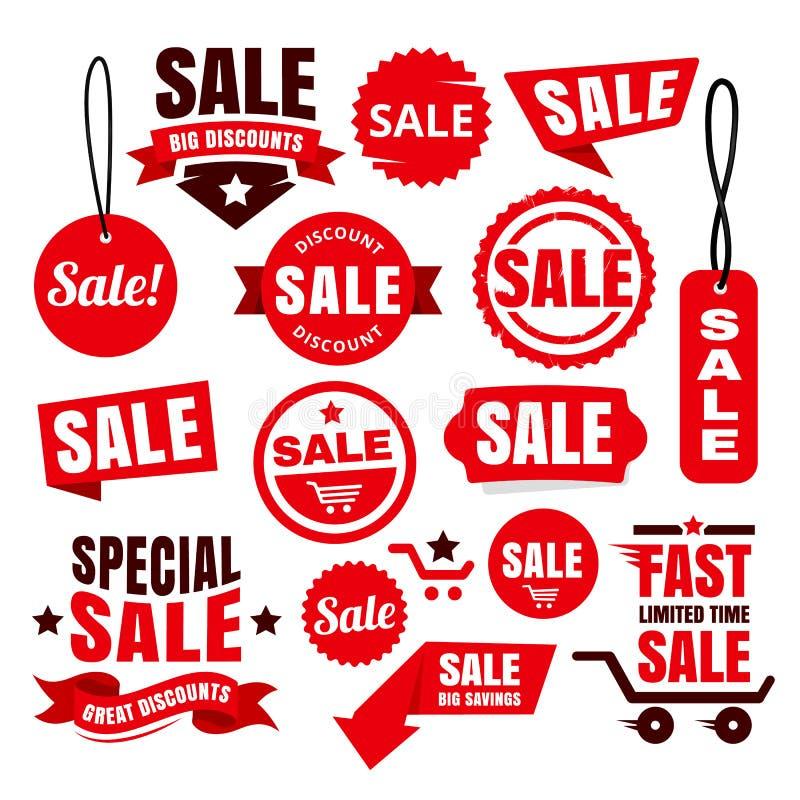 Rote Rabatt-Verkaufs-Tags, Ausweise und Bänder lizenzfreie abbildung