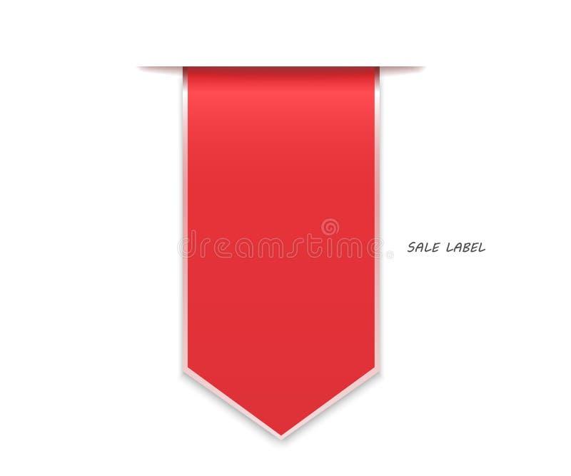 Rote Rabattaufkleber verbogen stock abbildung