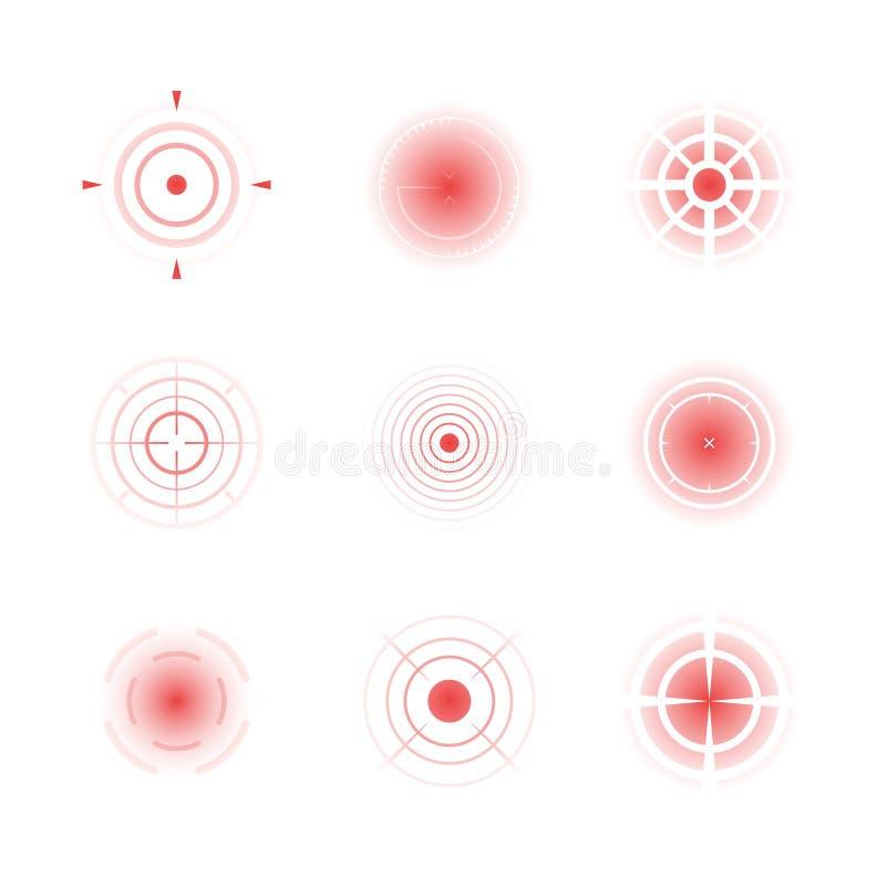 Rote radialformen Migräne, die Schmerzvektor-Zusammenfassungsringe des schmerzlichen Ziels der Knochen konzentrische zielt lizenzfreie abbildung