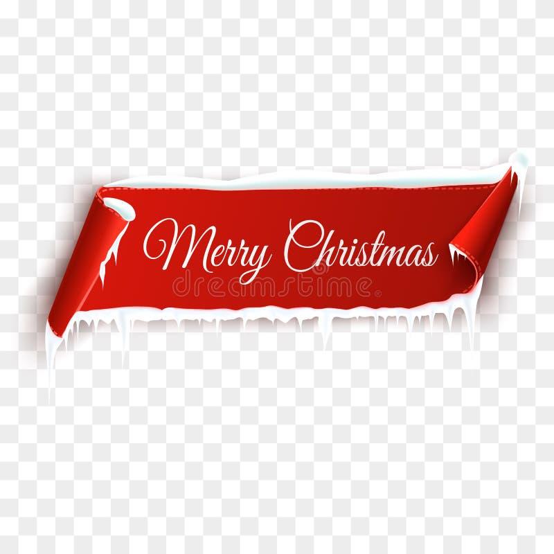Rote realistische ausführliche gebogene Papierfahne der frohen Weihnachten mit Schnee und Eiszapfen lokalisiert auf transparentem vektor abbildung