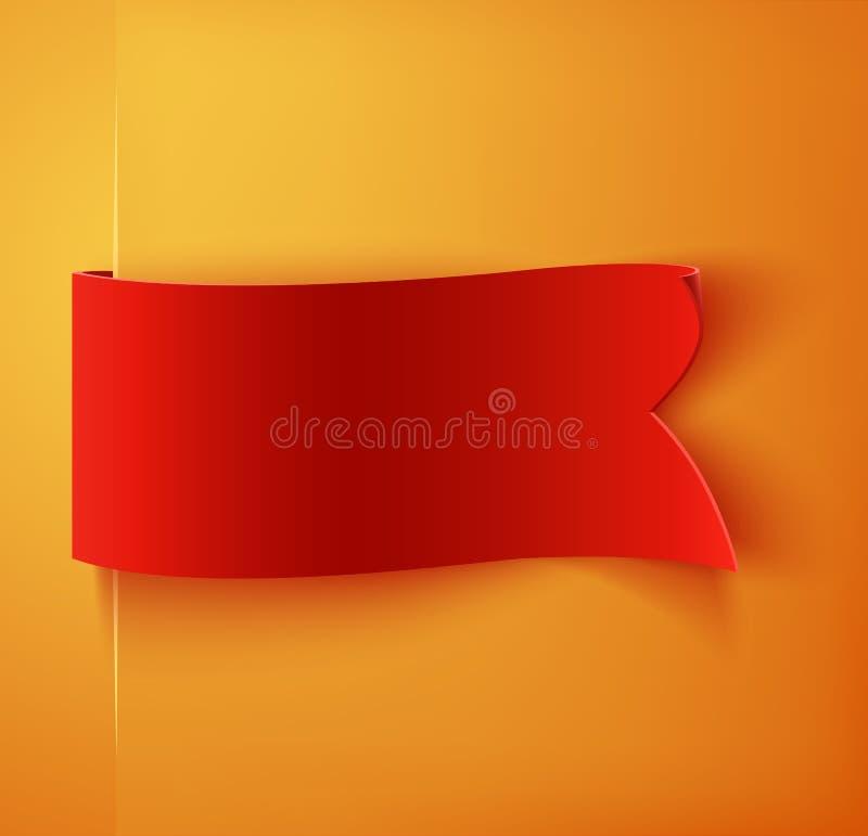 Rote realistische leere ausführliche gebogene Papierfahne lizenzfreie abbildung