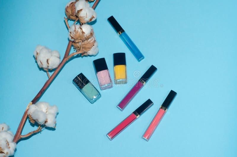 Rote, rosa und blaue Lippenstifte Baumwollblume Roter, rosa und gelber Nagellack Bilden Sie Schönheitsprodukte auf blauem Hinterg lizenzfreie stockbilder