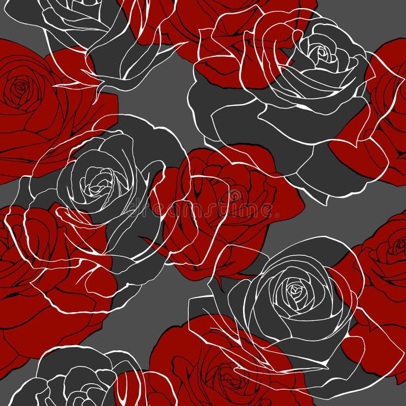 Rote rosafarbene Blumenblumensträuße umreißen nahtloses Muster der Elemente auf Grau lizenzfreie abbildung
