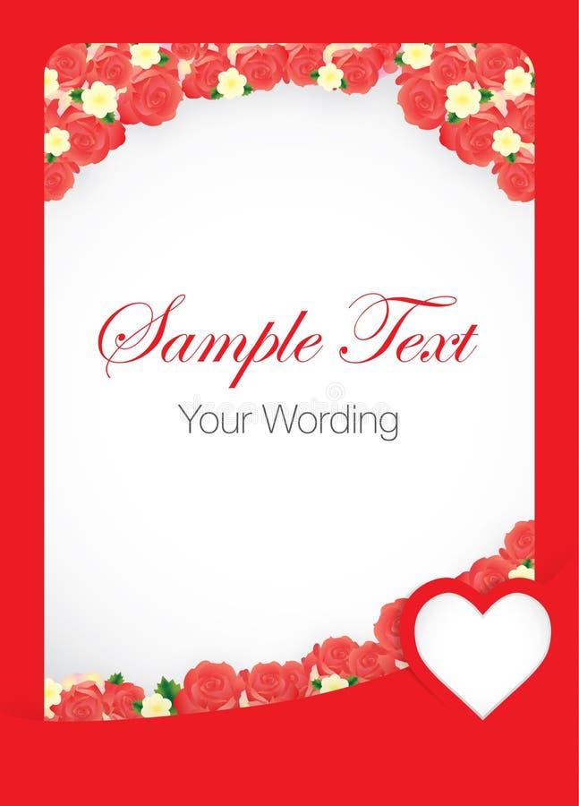 Rote Rose Card Template lizenzfreie abbildung