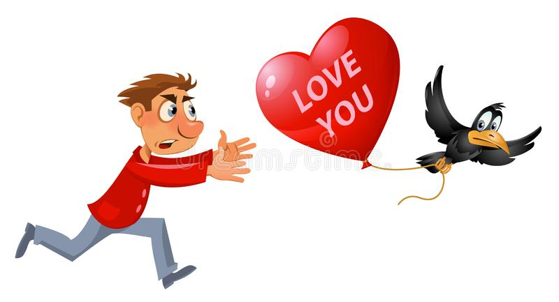 Rote Rose Karikaturmann, der versucht, Krähe zu fangen, die gestohlenen Herzformballon trägt vektor abbildung