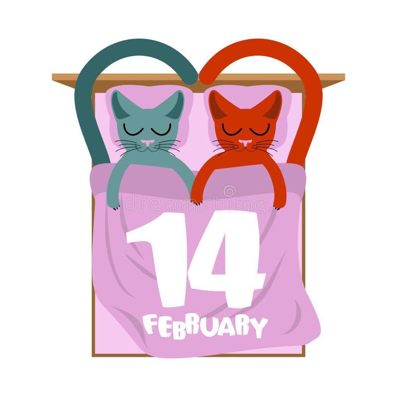 Rote Rose Katzen im Bett Nette Katzenschlafenliebe Liebhaber holid vektor abbildung