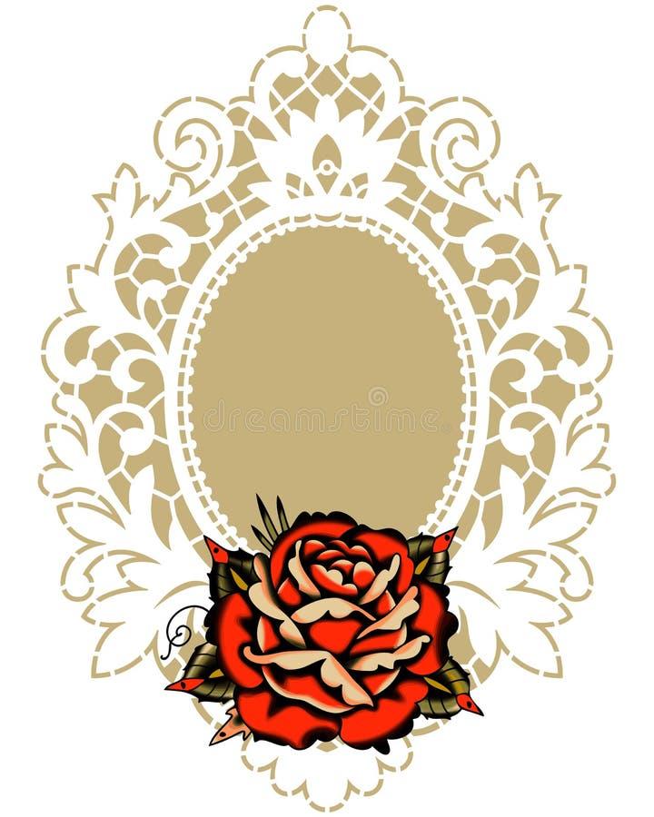 Rote Rose White Lace Frame lizenzfreie abbildung