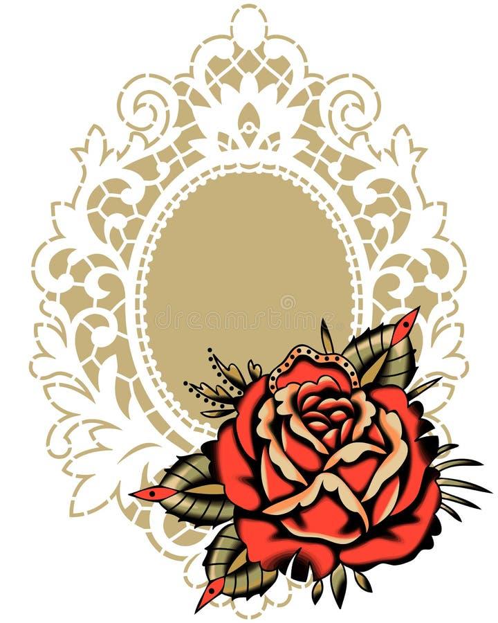 Rote Rose White Lace Frame vektor abbildung