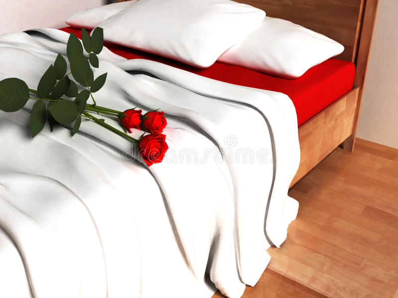 Rote Rosen auf dem Bett stock abbildung