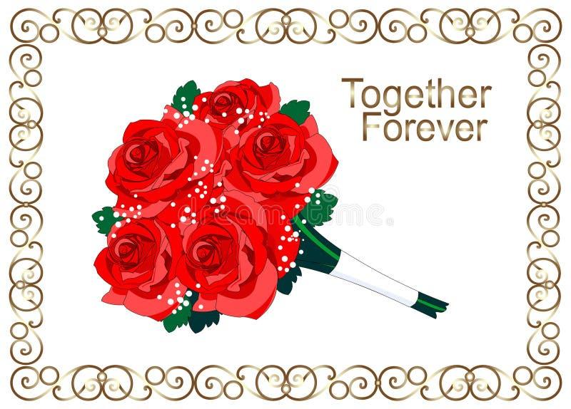 Rote Rosen Blumenrahmen der goldenen Weinlese , Goldlocken lizenzfreie abbildung