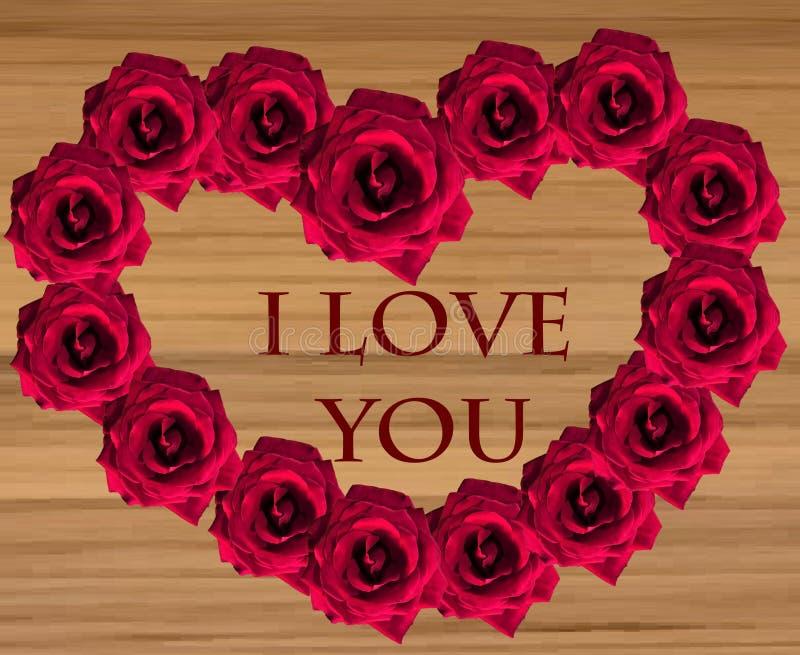 Rote Rosen in Form eines Herzens auf h?lzernem Hintergrund stockbild