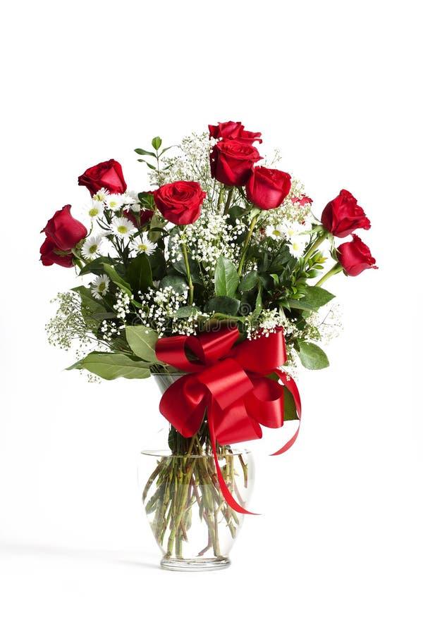 Rote Rosen-Glas-Vase stockbild