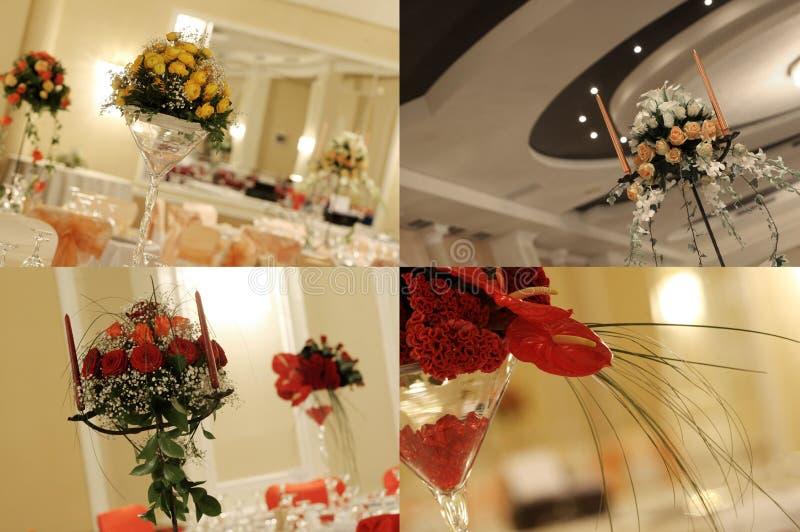 Rote Rosen im Hochzeitsballsaal, multicam, Gitter, Schirm spalteten sich in vier Teilen auf lizenzfreies stockfoto