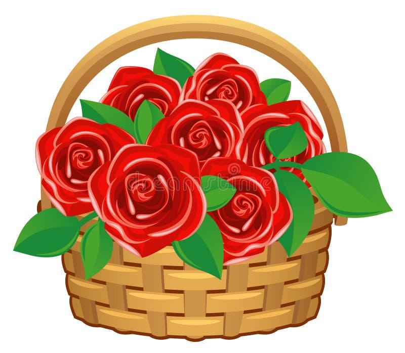 rote Rosen im Korb lizenzfreie abbildung